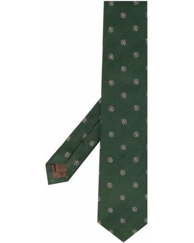 Зеленая шелковая резинка для волос с вышивкой Church's