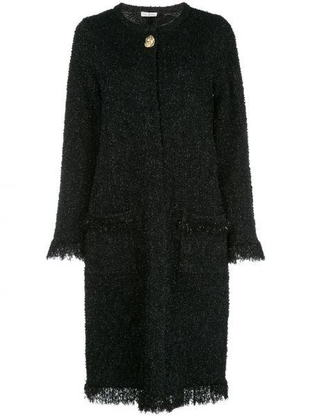 Хлопковая черная куртка с бахромой Oscar De La Renta