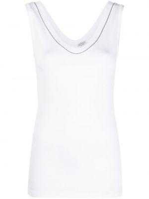 Biały top bez rękawów bawełniany Brunello Cucinelli