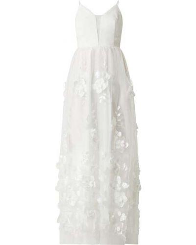 Biała sukienka wieczorowa rozkloszowana Apart Glamour
