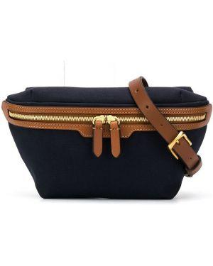 Синяя парусиновая поясная сумка с помпоном с поясом Mismo