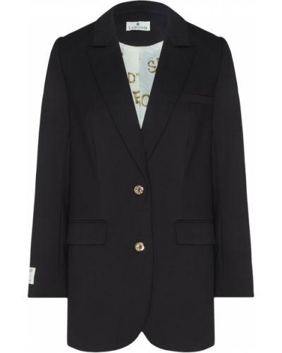 Однобортный черный пиджак на пуговицах из вискозы Laroom