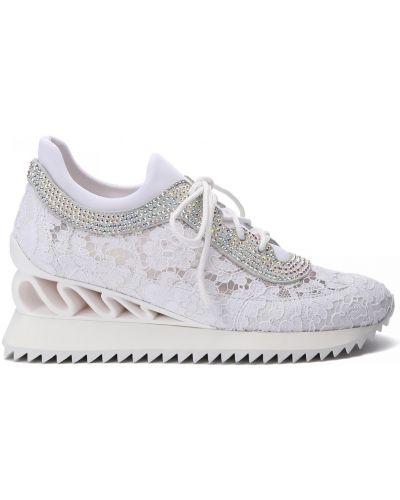Кожаные белые кроссовки на шнуровке Le Silla
