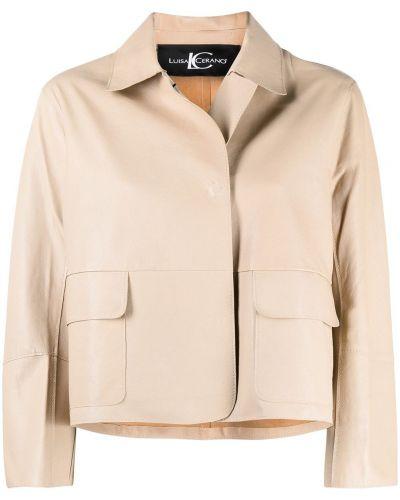 С рукавами кожаная короткая куртка с воротником Luisa Cerano