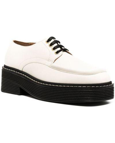 Ажурные белые кожаные пинетки на шнурках Marni