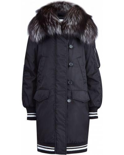 Куртка с капюшоном оверсайз из чернобурки Ermanno Scervino