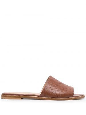 Brązowe sandały skorzane peep toe Peserico