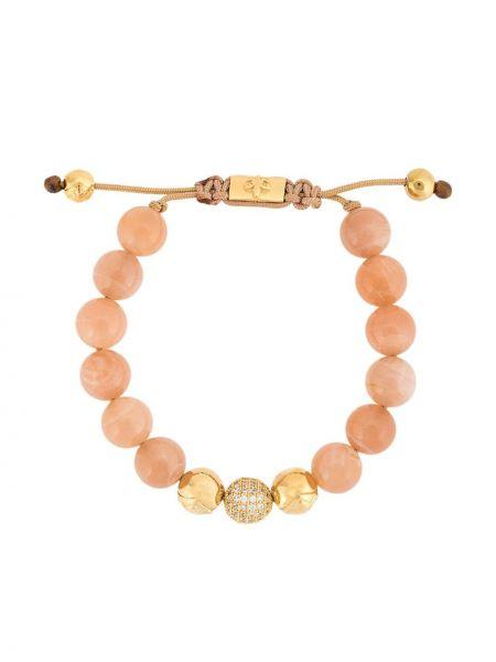 Золотистый розовый браслет с камнями позолоченный Nialaya Jewelry