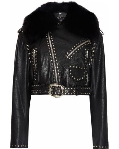Черная кожаная куртка с воротником Maison Bohemique