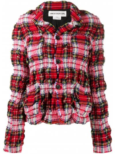 Шерстяной красный удлиненный пиджак в клетку Comme Des Garçons Girl