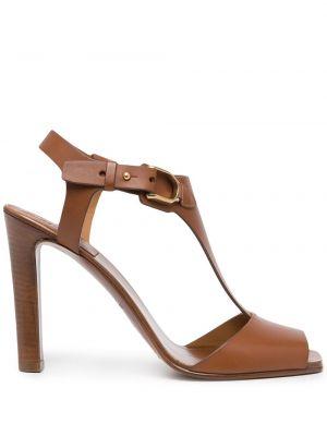 Brązowe sandały peep toe Ralph Lauren Collection