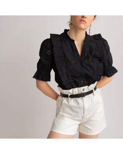 Черная блузка с вышивкой с короткими рукавами Laredoute