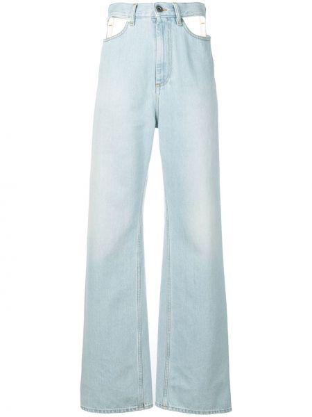 Синие широкие джинсы на пуговицах с поясом свободного кроя Maison Margiela