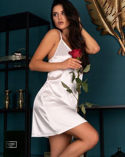 Satynowy biały t-shirt perły Livia Corsetti