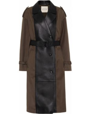 Кожаное пальто из габардина Tod's