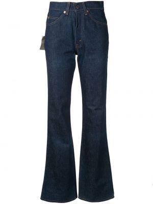 Синие расклешенные брюки винтажные на пуговицах Fake Alpha Vintage