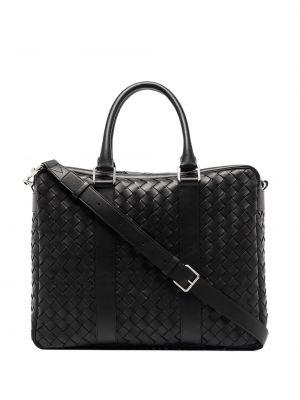 Черный кожаный портфель с декоративной отделкой Bottega Veneta