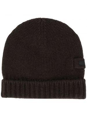 Brązowa czapka prążkowana Prada
