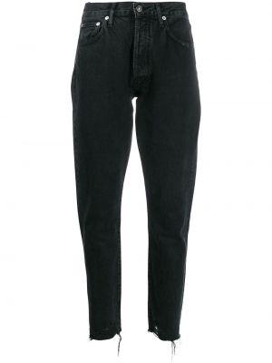 Prosto bawełna bawełna jeansy na wysokości z kieszeniami Agolde