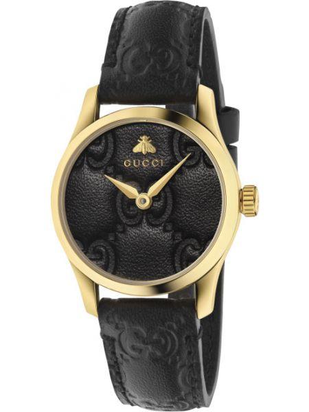С ремешком повседневные кожаные черные часы на кожаном ремешке Gucci