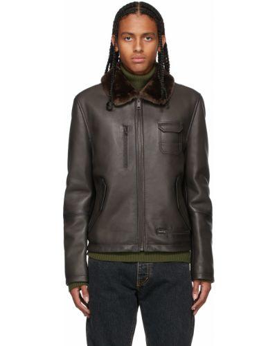 Кожаная куртка на пуговицах - черная Yves Salomon