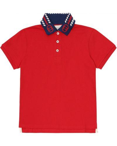 Bawełna koszula rozciągać z kołnierzem z haftem Gucci Kids