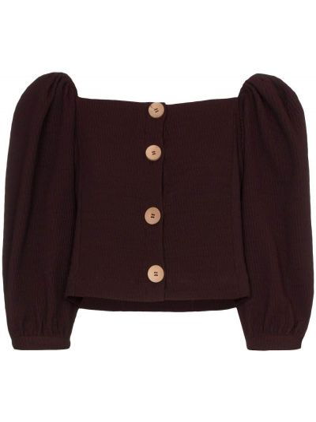 Блузка с открытыми плечами с рюшами спущенная N Duo