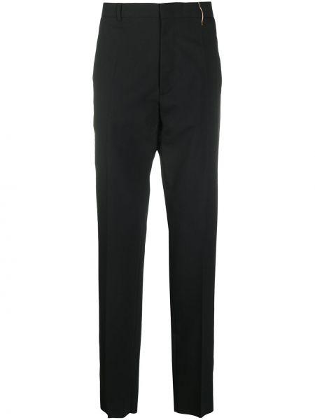 Czarne spodnie z wysokim stanem bawełniane Rochas