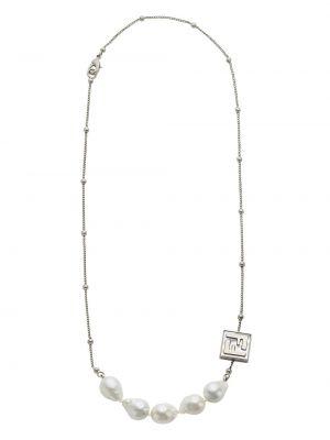 Biały naszyjnik perły srebrny Fendi