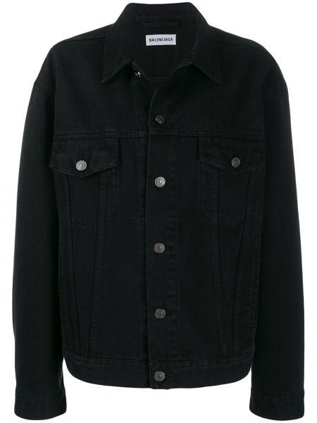 Свободная черная джинсовая куртка со вставками с воротником Balenciaga