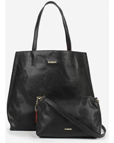 Кожаный сумка шоппер черный Desigual