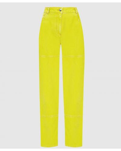 Желтые джинсы с вышивкой Nina Ricci
