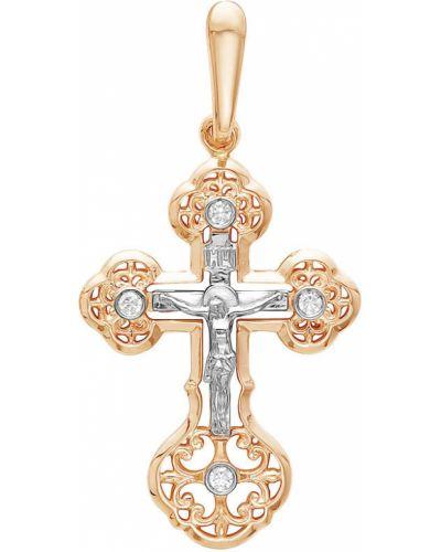 Золотистый серебряный крест с бриллиантом Vesna Jewelry