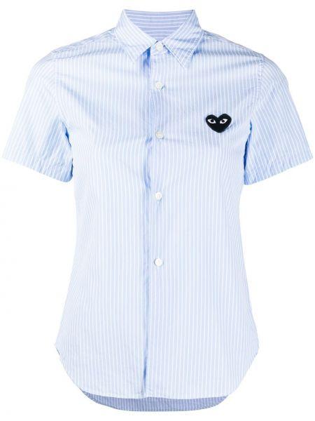 Хлопковая синяя классическая рубашка с вышивкой с воротником Comme Des GarÇons Play