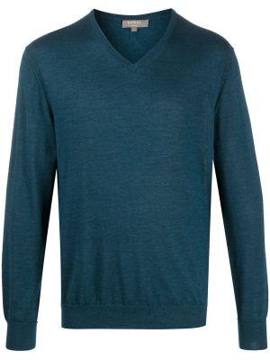 С рукавами синий шелковый джемпер с V-образным вырезом N.peal