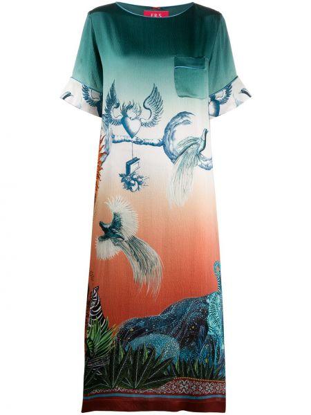 Zielona sukienka mini krótki rękaw z jedwabiu F.r.s For Restless Sleepers