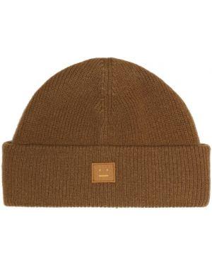 Шерстяная шапка бини - коричневая Acne Studios