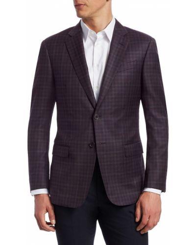 Шерстяной малиновый удлиненный пиджак с карманами Emporio Armani