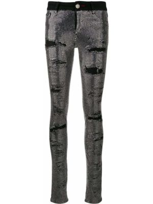 Czarne jeansy bawełniane z paskiem Philipp Plein