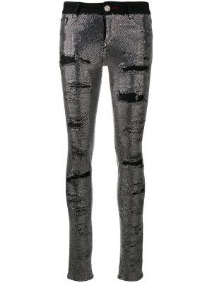 Obcisłe dżinsy srebro czarne Philipp Plein