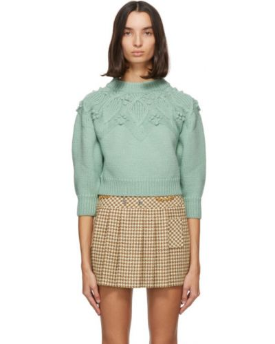 Z rękawami niebieski sweter z kołnierzem z łatami Gucci