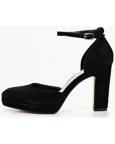 Туфли на каблуке черные велюровые Pier One