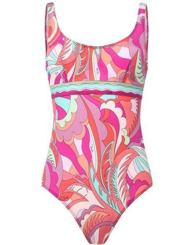 Слитный купальник розовый с открытой спиной Emilio Pucci