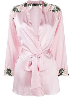 Różowy satynowy szlafrok koronkowy Gilda & Pearl