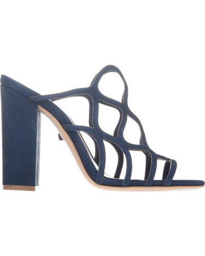 Синие шлепанцы на каблуке Schutz