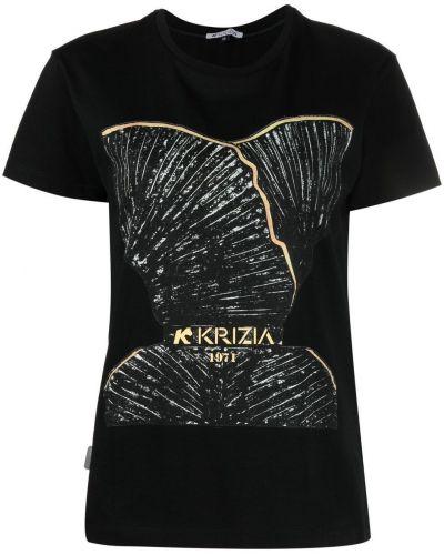 Прямая хлопковая черная футболка Krizia