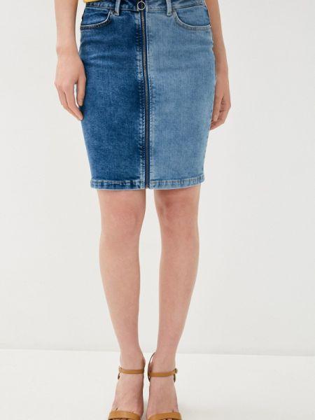 Джинсовая юбка синяя весенняя Ichi