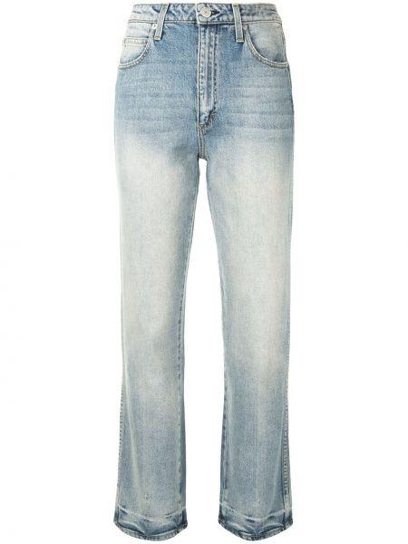 Синие прямые укороченные джинсы на молнии Amo