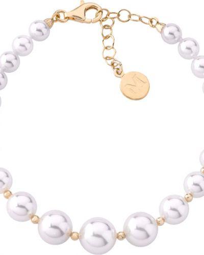 Серебряный браслет с камнями с жемчугом Majorica