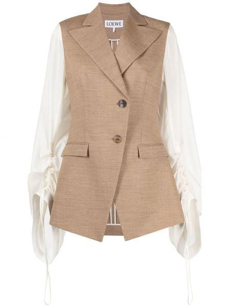 Коричневый удлиненный пиджак двубортный на пуговицах Loewe